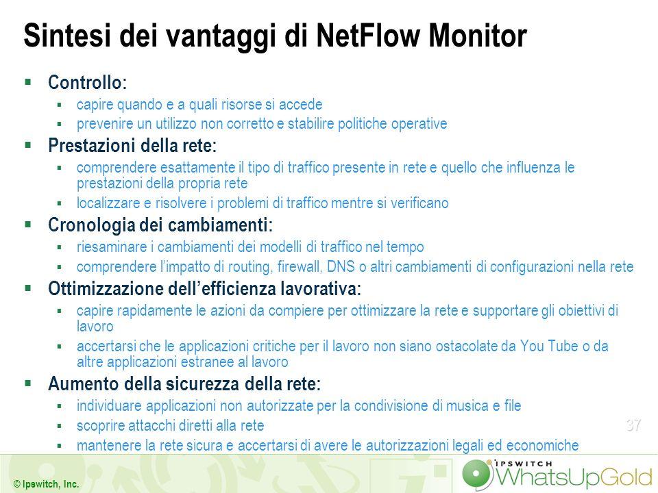 37 © Ipswitch, Inc. Sintesi dei vantaggi di NetFlow Monitor Controllo: capire quando e a quali risorse si accede prevenire un utilizzo non corretto e