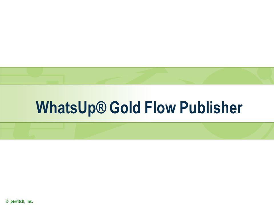 © Ipswitch, Inc. WhatsUp® Gold Flow Publisher