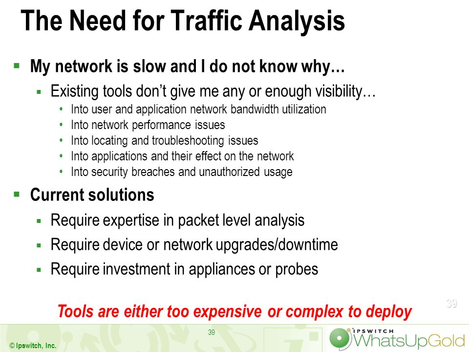39 © Ipswitch, Inc. 39 The Need for Traffic Analysis My network is slow and I do not know why… Existing tools dont give me any or enough visibility… I