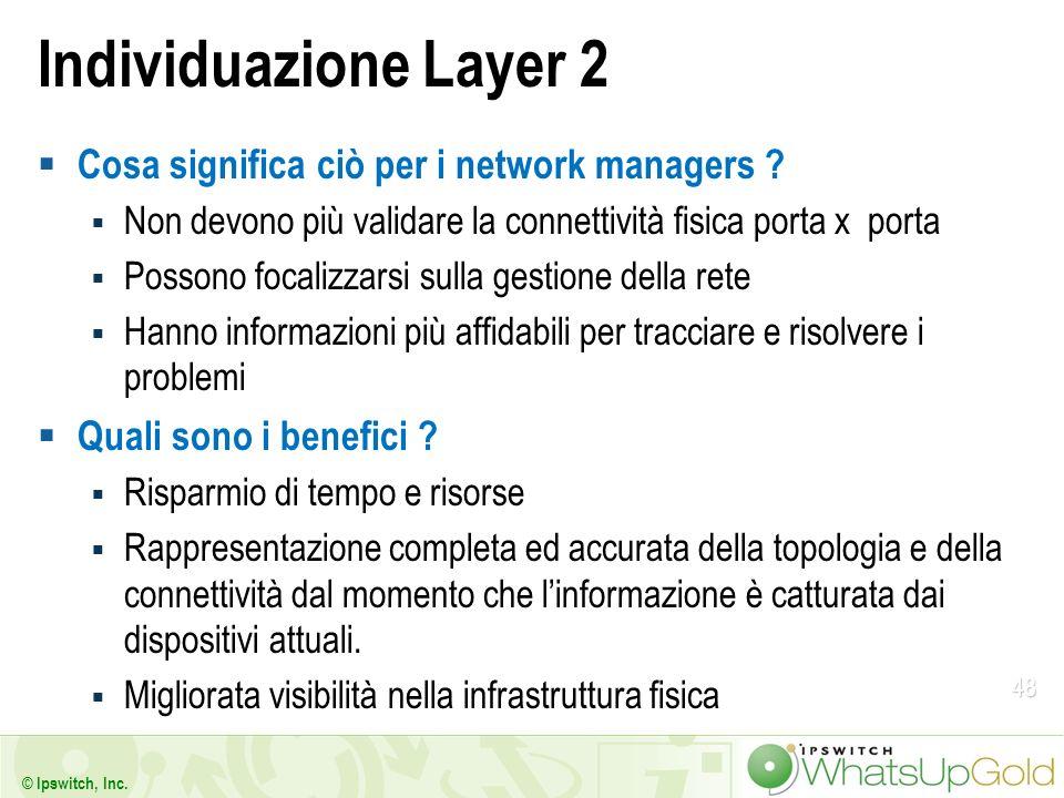 48 © Ipswitch, Inc. Individuazione Layer 2 Cosa significa ciò per i network managers ? Non devono più validare la connettività fisica porta x porta Po