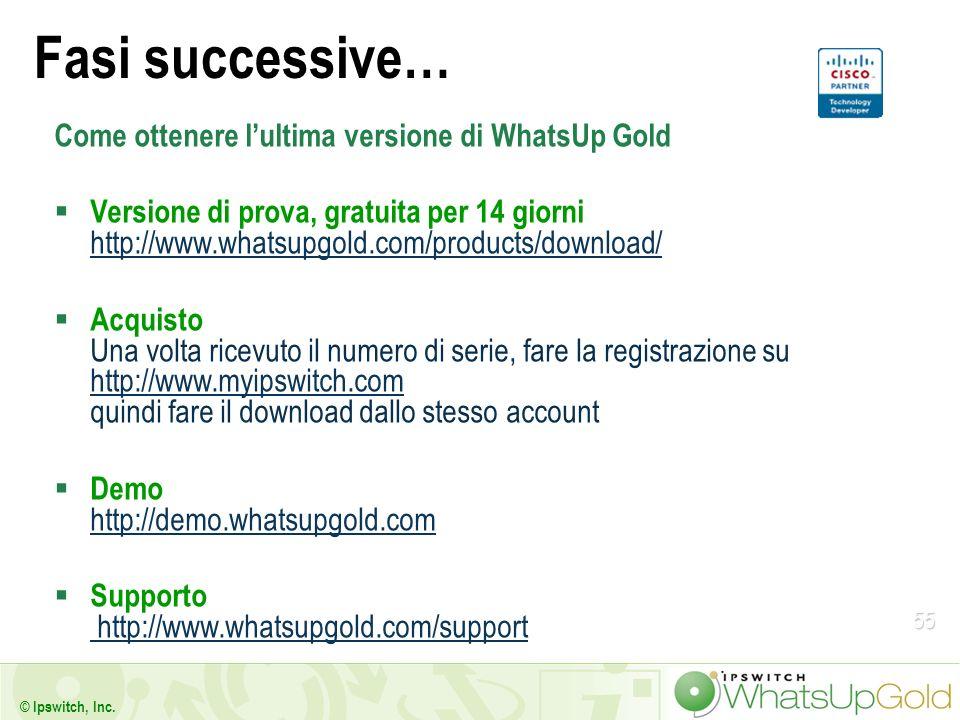 55 © Ipswitch, Inc. Fasi successive… Come ottenere lultima versione di WhatsUp Gold Versione di prova, gratuita per 14 giorni http://www.whatsupgold.c