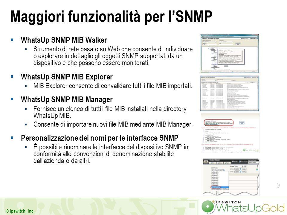 9 © Ipswitch, Inc. Maggiori funzionalità per lSNMP WhatsUp SNMP MIB Walker Strumento di rete basato su Web che consente di individuare o esplorare in
