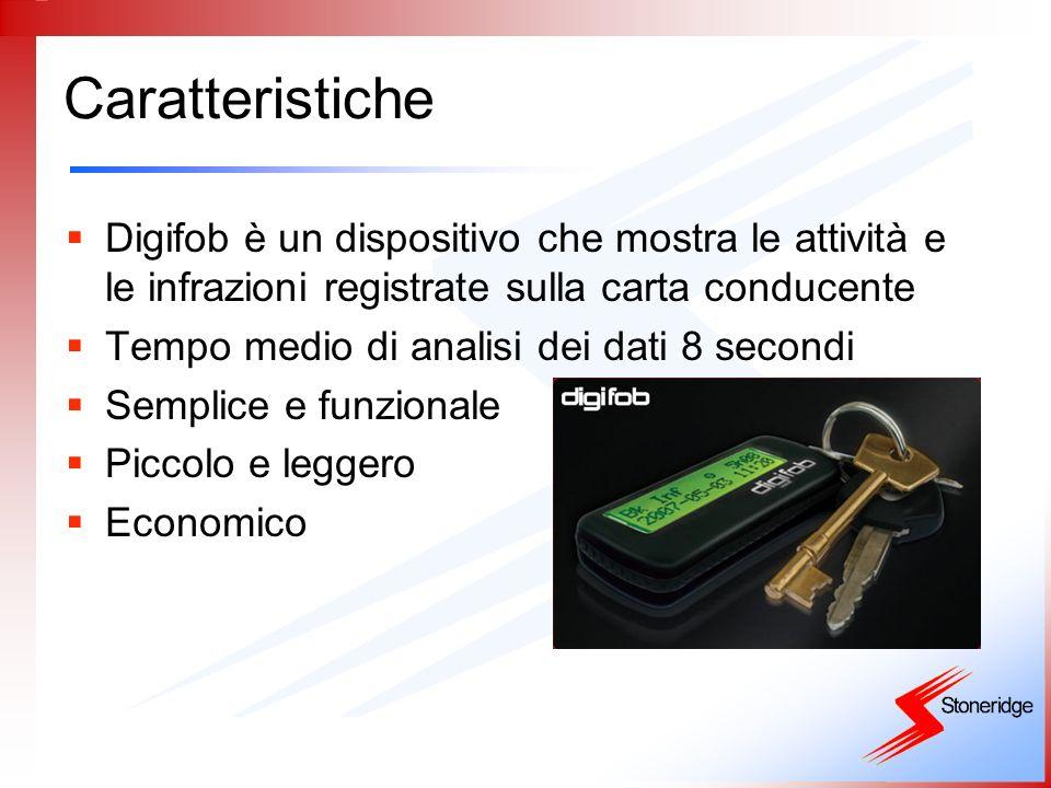 Caratteristiche Digifob è un dispositivo che mostra le attività e le infrazioni registrate sulla carta conducente Tempo medio di analisi dei dati 8 se
