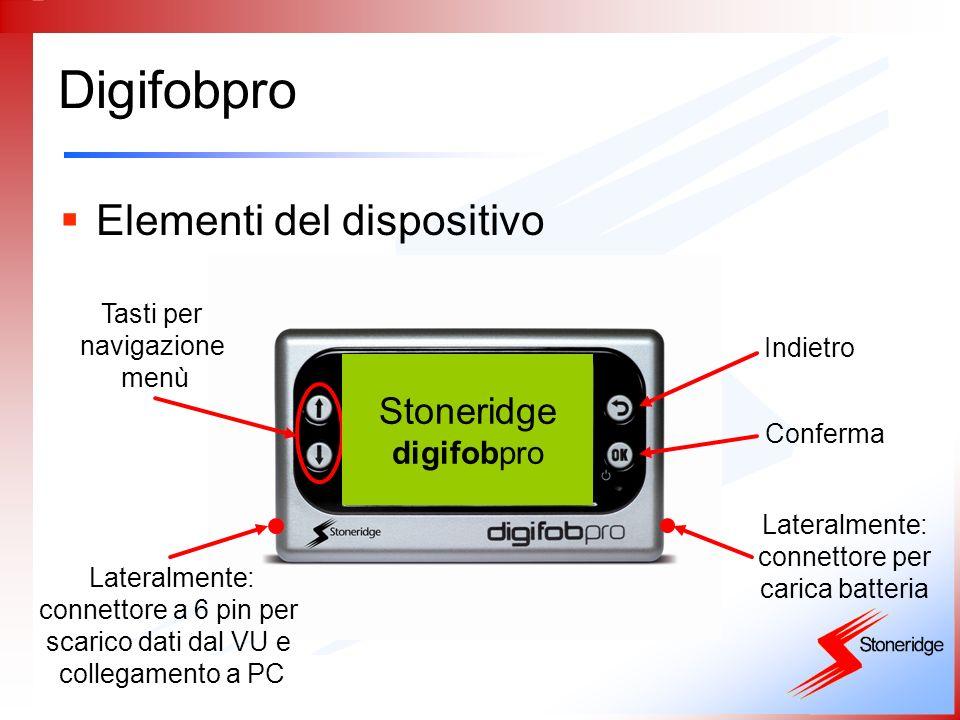 Digifobpro Elementi del dispositivo Lateralmente: connettore a 6 pin per scarico dati dal VU e collegamento a PC Tasti per navigazione menù Lateralmen