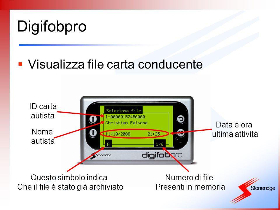 Digifobpro Visualizza file carta conducente ID carta autista Nome autista Data e ora ultima attività Questo simbolo indica Che il file è stato già arc