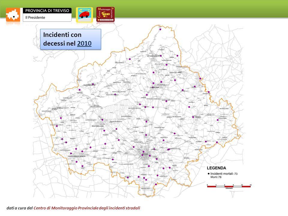 Incidenti con decessi nel 2000 Incidenti con decessi nel 2010 dati a cura del Centro di Monitoraggio Provinciale degli incidenti stradali