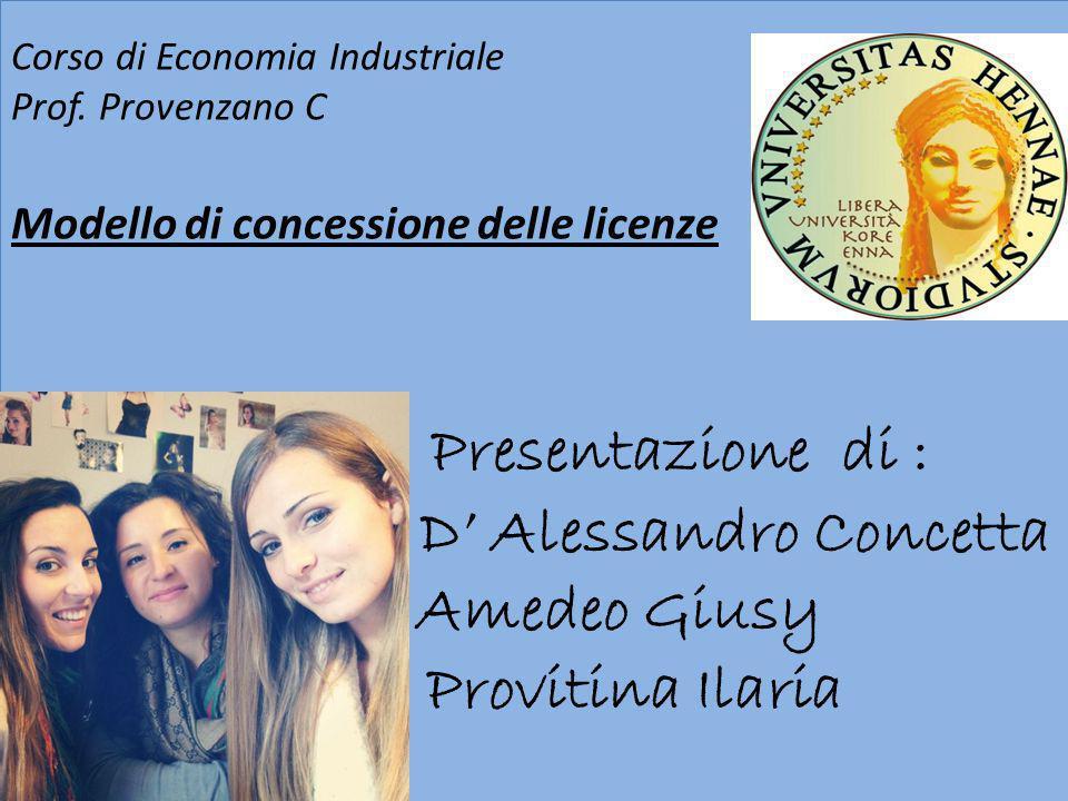 Presentazione di : D Alessandro Concetta Amedeo Giusy Provitina Ilaria Corso di Economia Industriale Prof. Provenzano C Modello di concessione delle l