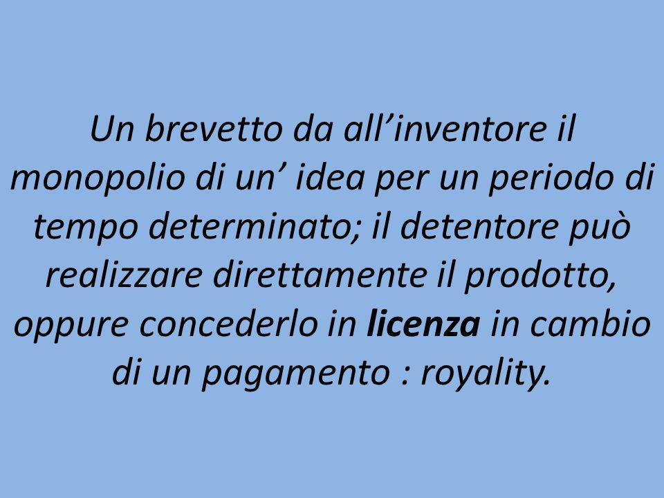 Un brevetto da allinventore il monopolio di un idea per un periodo di tempo determinato; il detentore può realizzare direttamente il prodotto, oppure