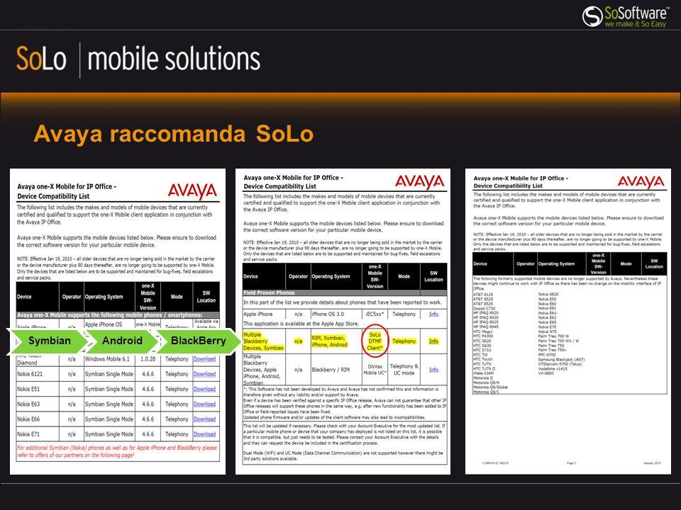 Avaya raccomanda SoLo SymbianAndroidBlackBerry
