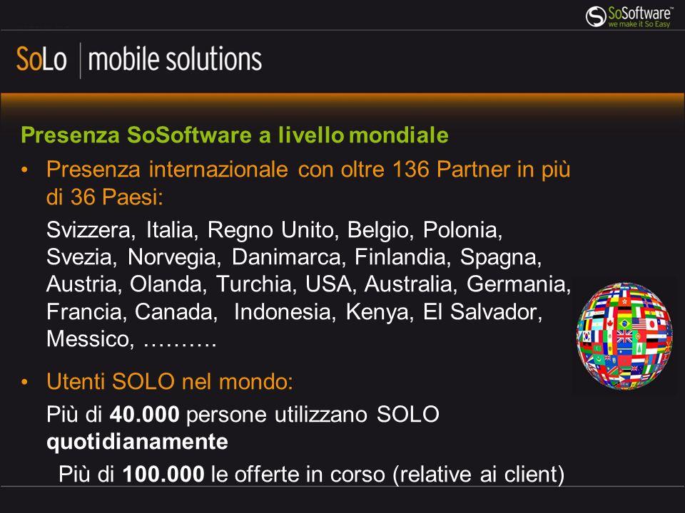 Presenza SoSoftware a livello mondiale Presenza internazionale con oltre 136 Partner in più di 36 Paesi: Svizzera, Italia, Regno Unito, Belgio, Polonia, Svezia, Norvegia, Danimarca, Finlandia, Spagna, Austria, Olanda, Turchia, USA, Australia, Germania, Francia, Canada, Indonesia, Kenya, El Salvador, Messico, ……….