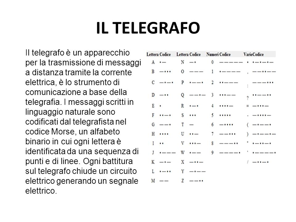 IL TELEGRAFO Il telegrafo è un apparecchio per la trasmissione di messaggi a distanza tramite la corrente elettrica, è lo strumento di comunicazione a
