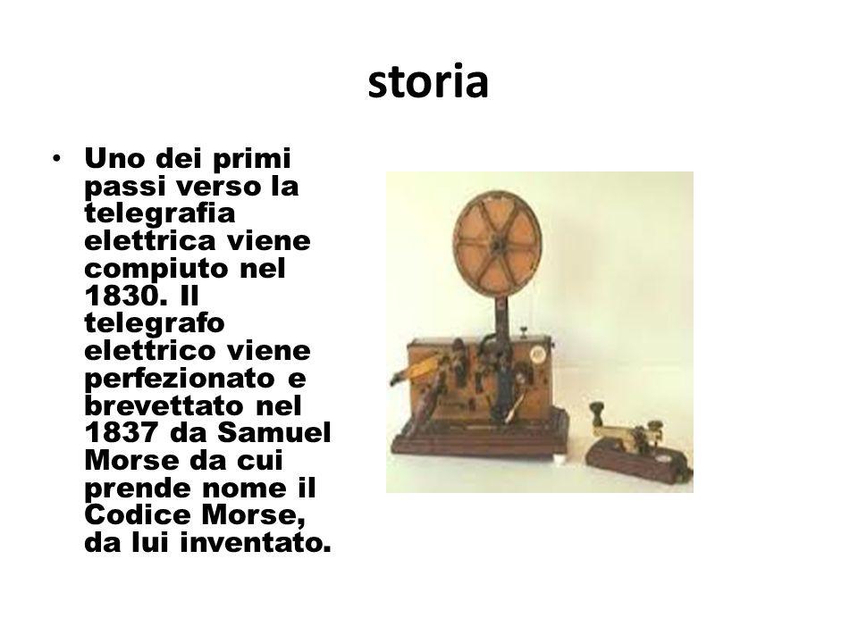 storia Uno dei primi passi verso la telegrafia elettrica viene compiuto nel 1830. Il telegrafo elettrico viene perfezionato e brevettato nel 1837 da S