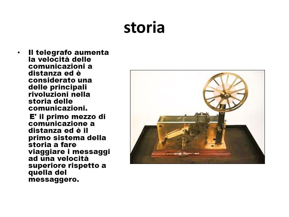storia Il telegrafo aumenta la velocità delle comunicazioni a distanza ed è considerato una delle principali rivoluzioni nella storia delle comunicazioni.