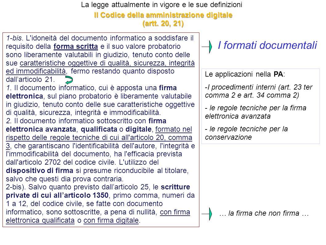 La legge attualmente in vigore e le sue definizioni 1-bis. L'idoneità del documento informatico a soddisfare il requisito della forma scritta e il suo