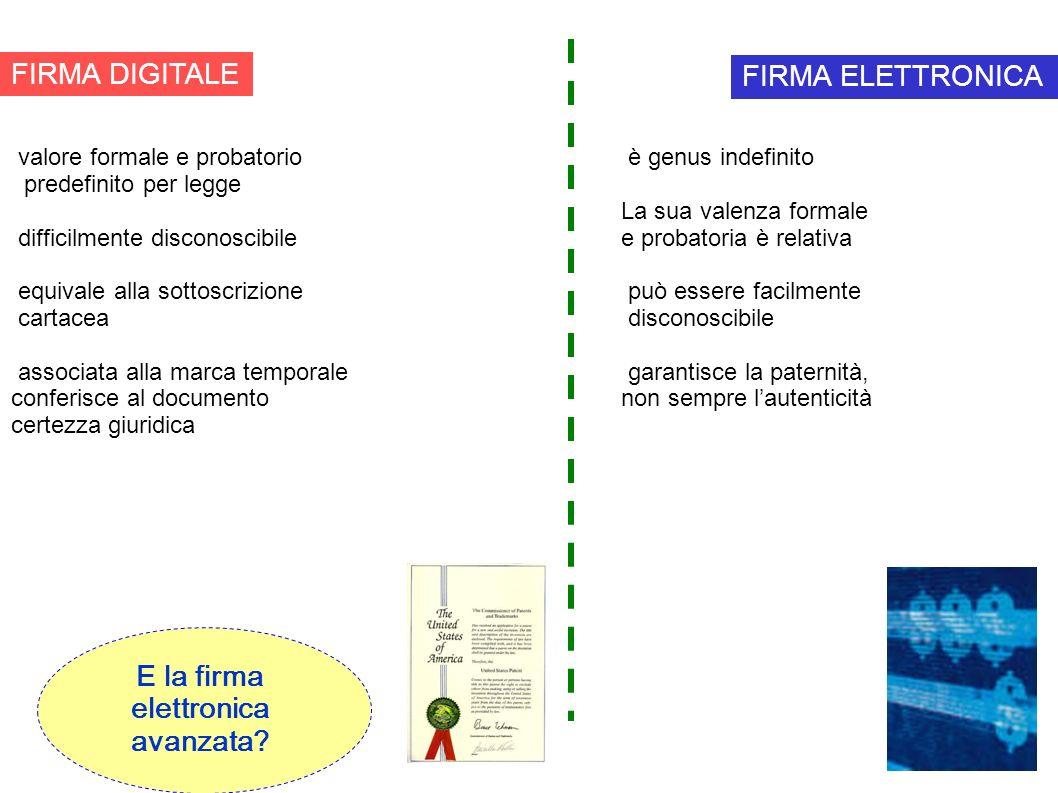 FIRMA DIGITALE valore formale e probatorio predefinito per legge difficilmente disconoscibile equivale alla sottoscrizione cartacea associata alla mar