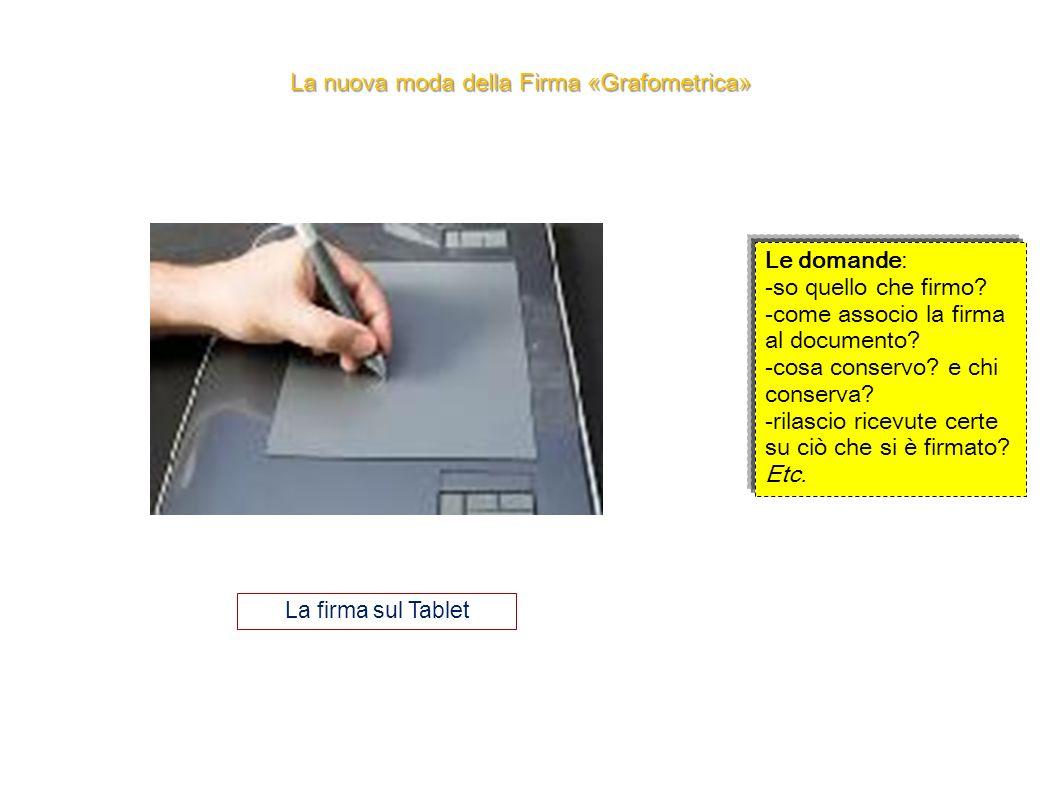La nuova moda della Firma «Grafometrica» La firma sul Tablet Le domande: -so quello che firmo? -come associo la firma al documento? -cosa conservo? e