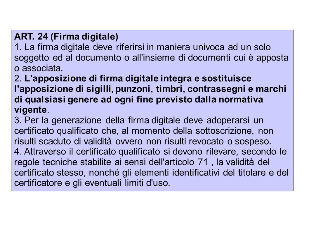 ART. 24 (Firma digitale) 1. La firma digitale deve riferirsi in maniera univoca ad un solo soggetto ed al documento o all'insieme di documenti cui è a
