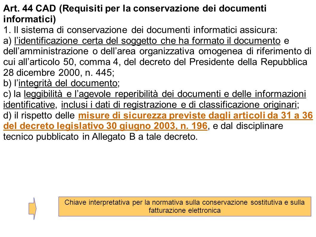 Art. 44 CAD (Requisiti per la conservazione dei documenti informatici) 1. Il sistema di conservazione dei documenti informatici assicura: a) lidentifi
