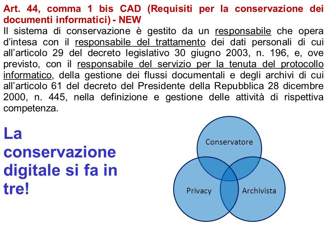 Art. 44, comma 1 bis CAD (Requisiti per la conservazione dei documenti informatici) - NEW Il sistema di conservazione è gestito da un responsabile che