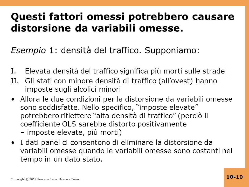 Copyright © 2012 Pearson Italia, Milano – Torino 10-10 Questi fattori omessi potrebbero causare distorsione da variabili omesse. Esempio 1: densità de