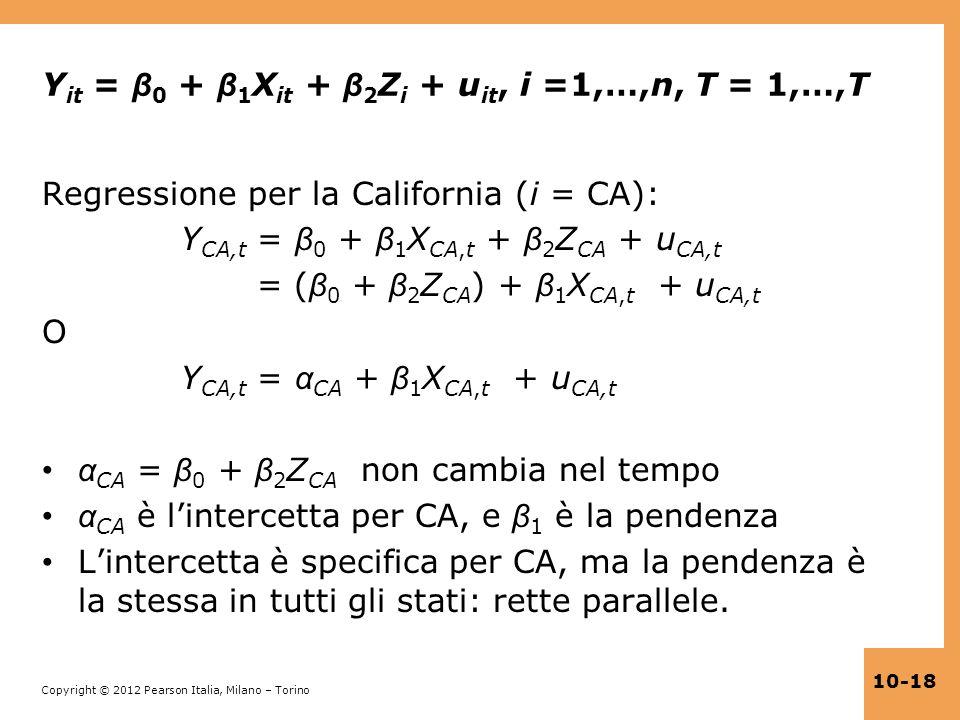 Copyright © 2012 Pearson Italia, Milano – Torino 10-18 Y it = β 0 + β 1 X it + β 2 Z i + u it, i =1,…,n, T = 1,…,T Regressione per la California (i =