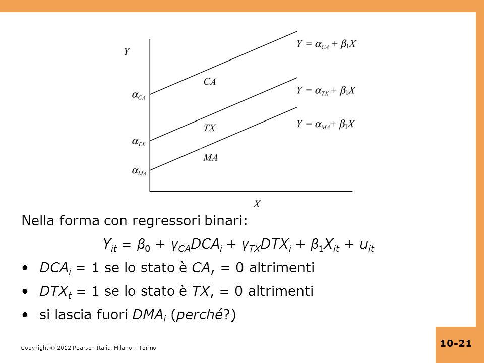 Copyright © 2012 Pearson Italia, Milano – Torino 10-21 Nella forma con regressori binari: Y it = β 0 + γ CA DCA i + γ TX DTX i + β 1 X it + u it DCA i