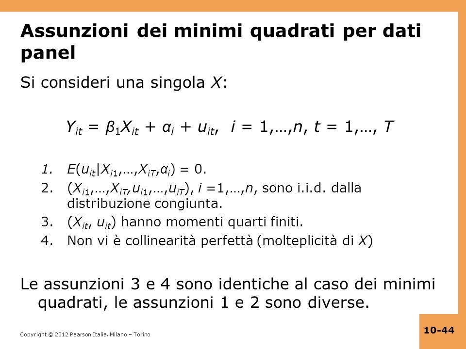 Copyright © 2012 Pearson Italia, Milano – Torino 10-44 Assunzioni dei minimi quadrati per dati panel Si consideri una singola X: Y it = β 1 X it + α i