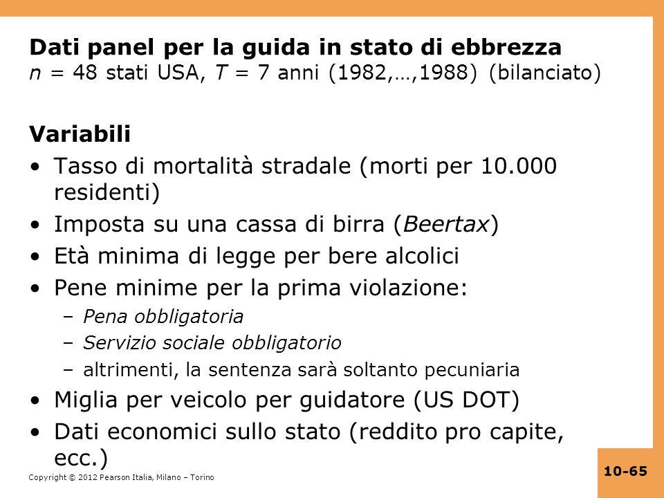 Copyright © 2012 Pearson Italia, Milano – Torino 10-65 Dati panel per la guida in stato di ebbrezza n = 48 stati USA, T = 7 anni (1982,…,1988) (bilanc