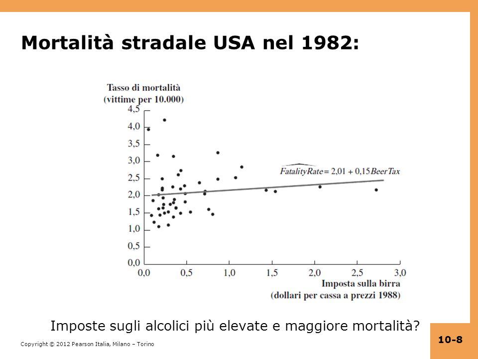 Copyright © 2012 Pearson Italia, Milano – Torino 10-8 Mortalità stradale USA nel 1982: Imposte sugli alcolici più elevate e maggiore mortalità?