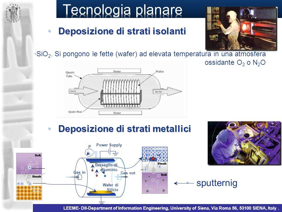 Deposizione di strati isolantiDeposizione di strati isolanti SiO 2. Si pongono le fette (wafer) ad elevata temperatura in una atmosfera ossidante O 2