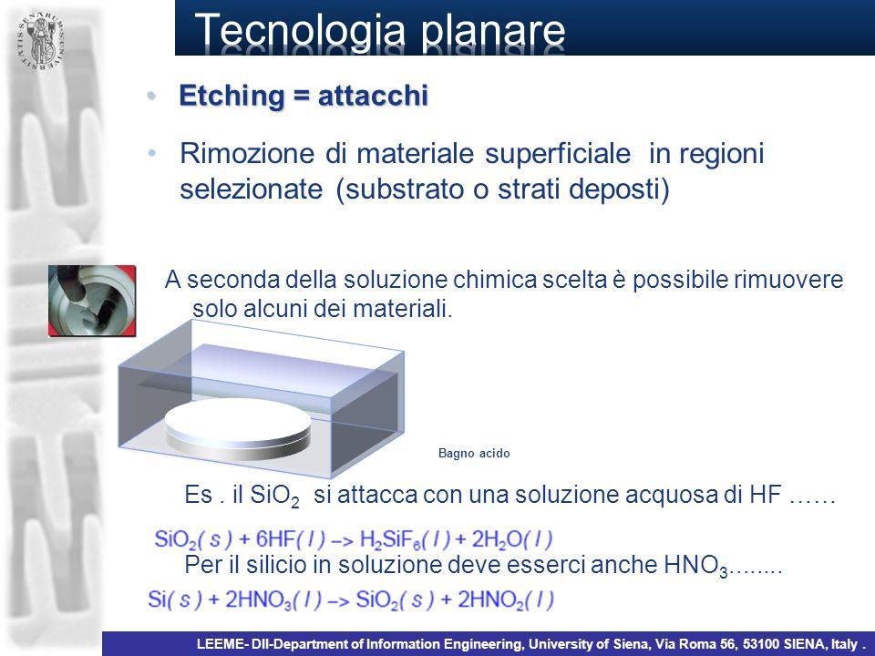 Rimozione di materiale superficiale in regioni selezionate (substrato o strati deposti) A seconda della soluzione chimica scelta è possibile rimuovere