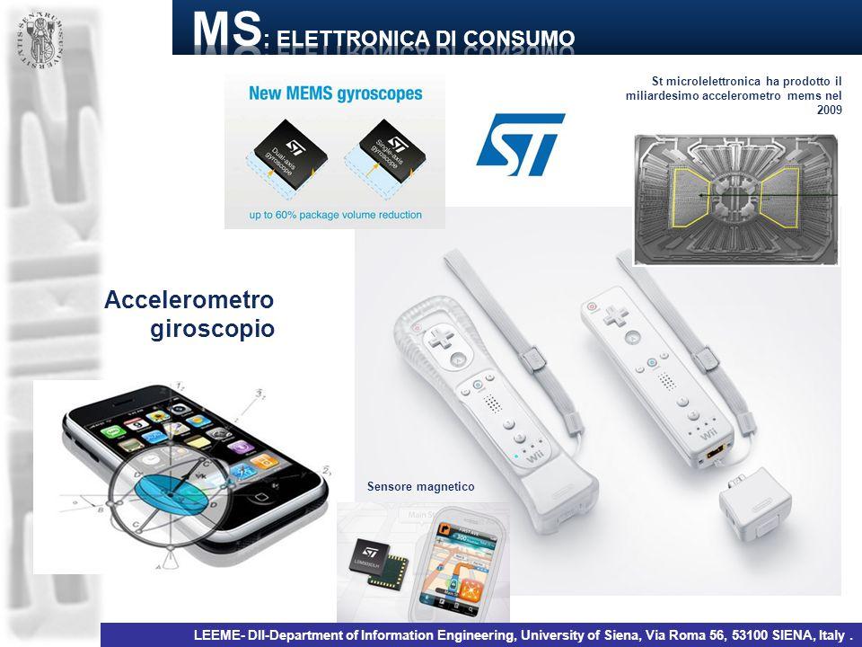 Accelerometro giroscopio St microlelettronica ha prodotto il miliardesimo accelerometro mems nel 2009 Sensore magnetico LEEME- DII-Department of Infor