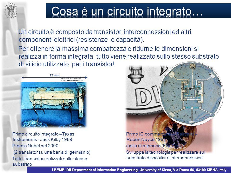 Un circuito è composto da transistor, interconnessioni ed altri componenti elettrici (resistenze e capacità). Per ottenere la massima compattezza e ri