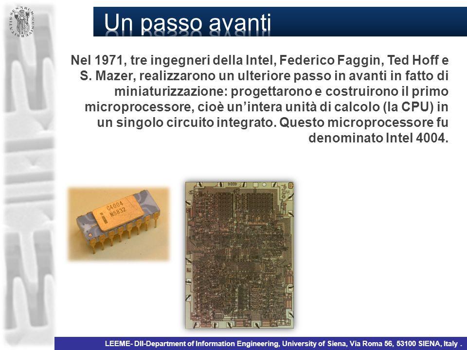 1971-4004, INTEL 10µm, 2k transistor 740 kHz Federico Faggin 2008- core i7, INTEL 45 nm, 730 M transistor 2.66 GHz Nome del processo (INTEL) P856P858Px60P1262P1264P1266P1268P1270 1° produzione19971999200120032005200720092011 Generazione250 nm180 nm130 nm90 nm65 nm45 nm32 nm22 nm Dimensione del wafer (mm) 200 200/300300 interconnessioniAl Cu .