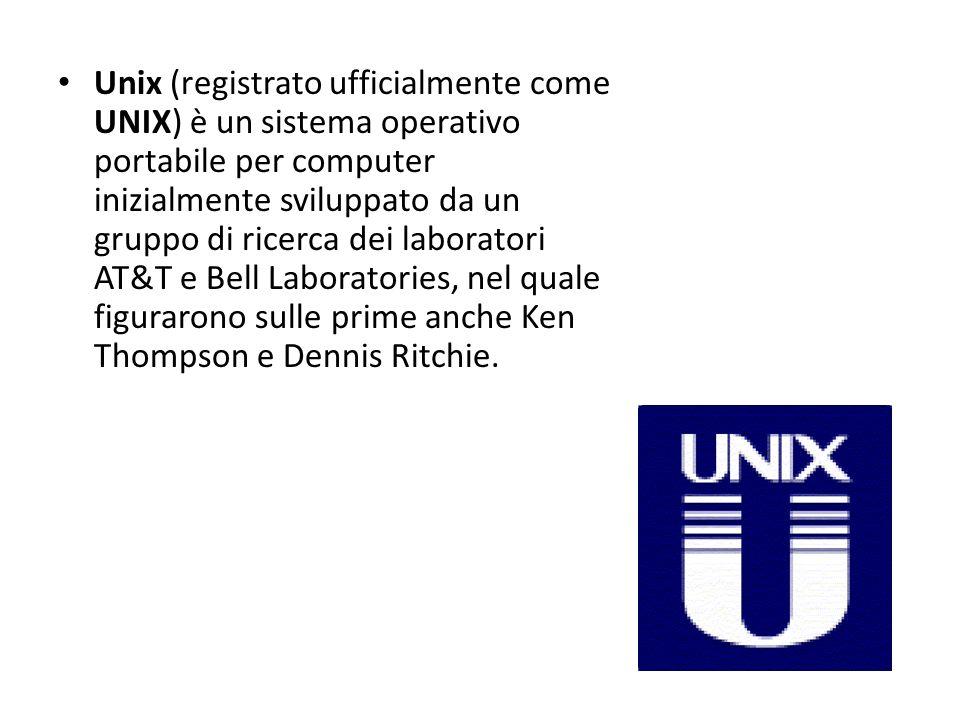 Unix (registrato ufficialmente come UNIX) è un sistema operativo portabile per computer inizialmente sviluppato da un gruppo di ricerca dei laboratori