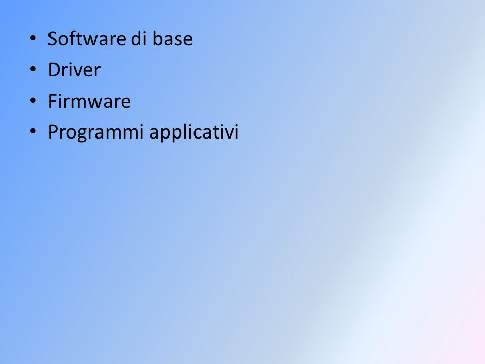 Software di base Driver Firmware Programmi applicativi