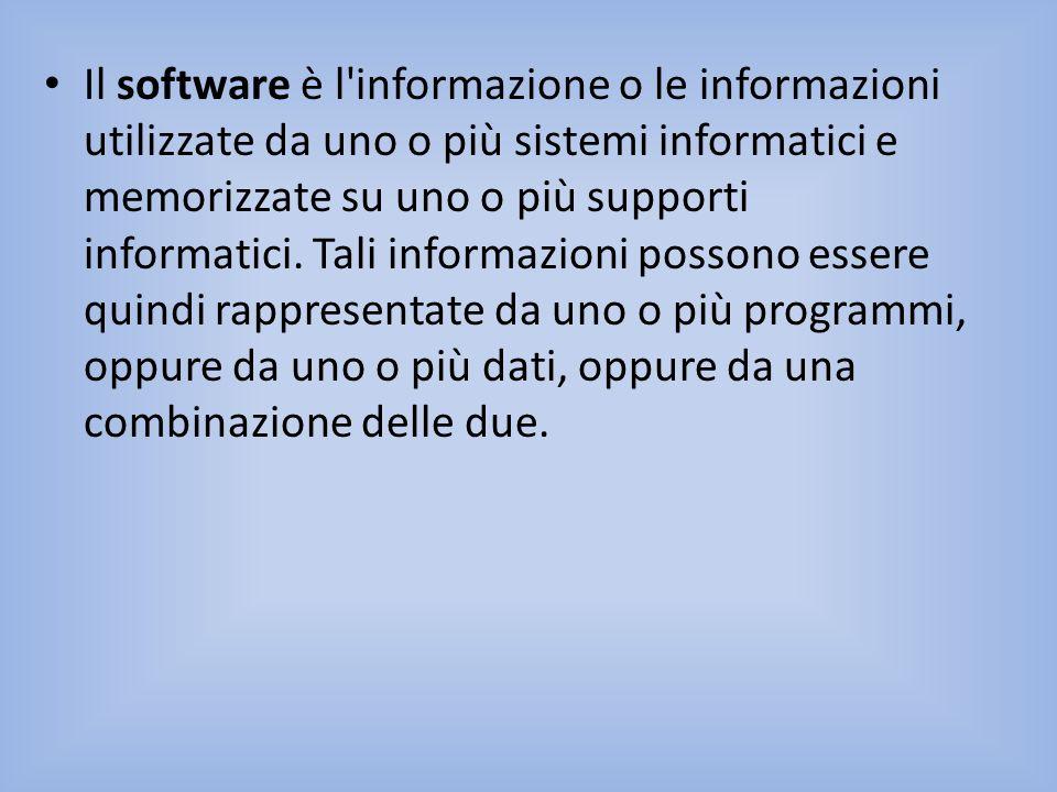 Il software è l'informazione o le informazioni utilizzate da uno o più sistemi informatici e memorizzate su uno o più supporti informatici. Tali infor