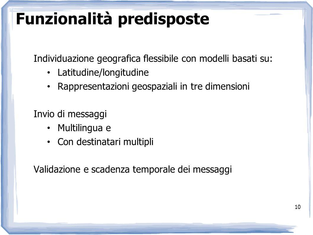10 Funzionalità predisposte Individuazione geografica flessibile con modelli basati su: Latitudine/longitudine Rappresentazioni geospaziali in tre dim