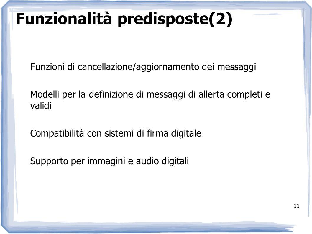 11 Funzionalità predisposte(2) Funzioni di cancellazione/aggiornamento dei messaggi Modelli per la definizione di messaggi di allerta completi e valid