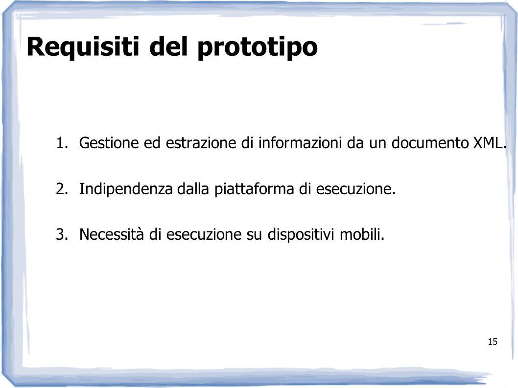 Requisiti del prototipo 1.Gestione ed estrazione di informazioni da un documento XML. 2.Indipendenza dalla piattaforma di esecuzione. 3.Necessità di e