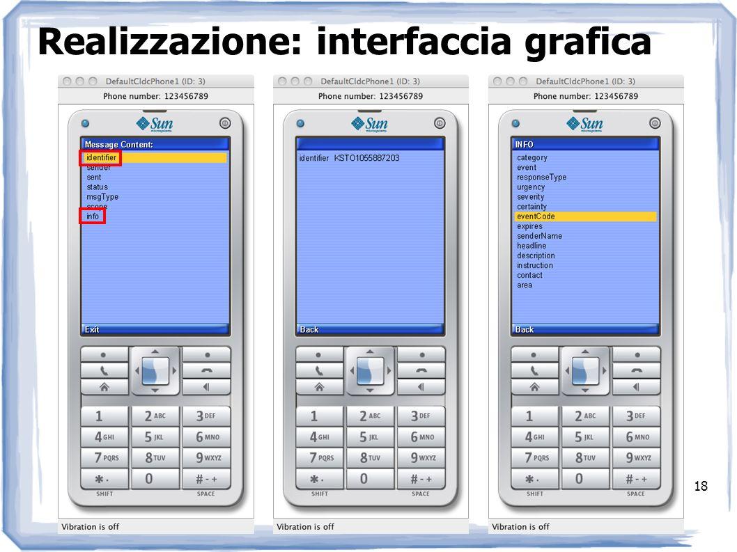 Realizzazione: interfaccia grafica 18