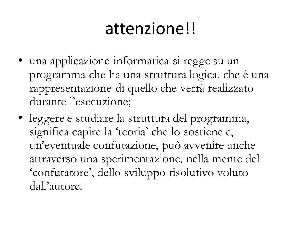 attenzione!! una applicazione informatica si regge su un programma che ha una struttura logica, che è una rappresentazione di quello che verrà realizz