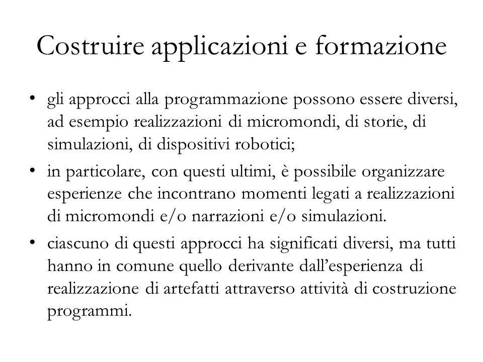 gli approcci alla programmazione possono essere diversi, ad esempio realizzazioni di micromondi, di storie, di simulazioni, di dispositivi robotici; i
