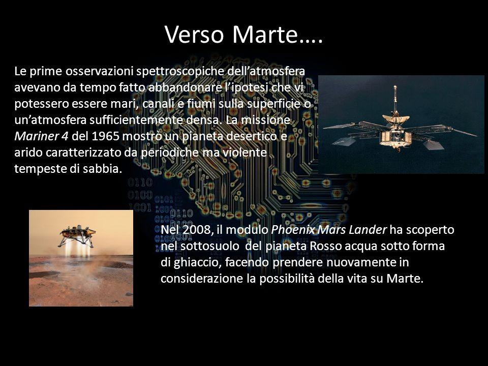 Verso Marte…. Le prime osservazioni spettroscopiche dellatmosfera avevano da tempo fatto abbandonare lipotesi che vi potessero essere mari, canali e f