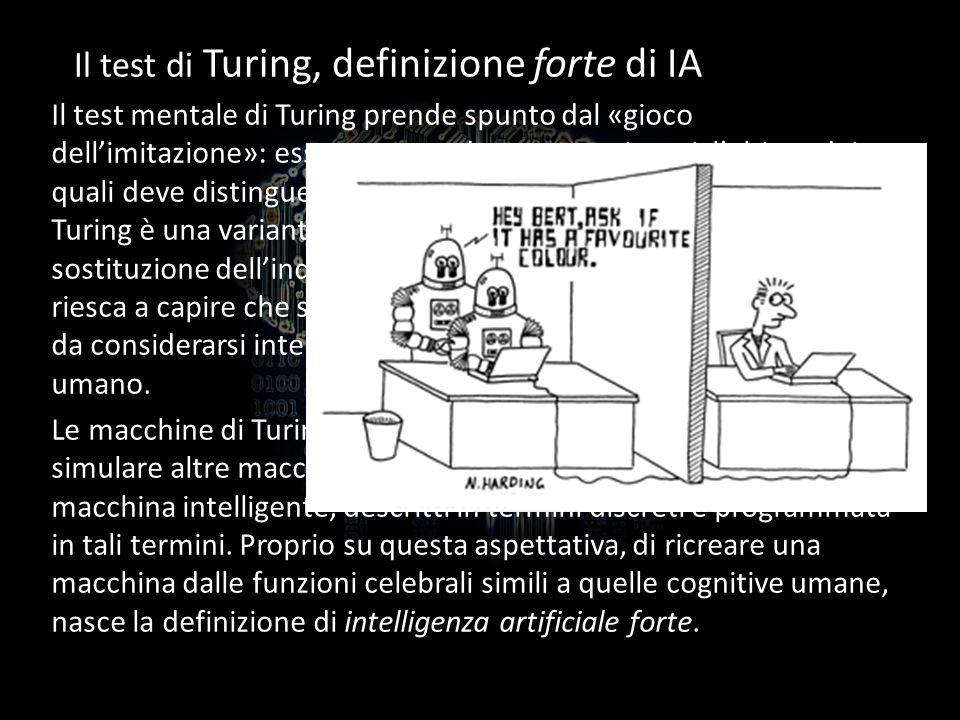 Il test di Turing, definizione forte di IA Il test mentale di Turing prende spunto dal «gioco dellimitazione»: esso comprende tre partecipanti, lultim