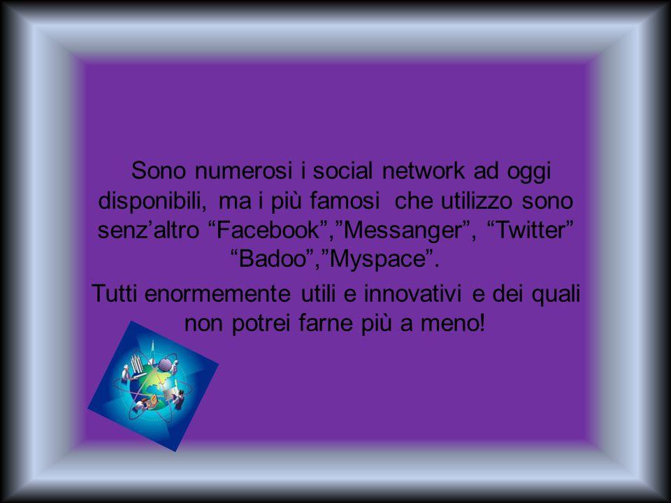 Sono numerosi i social network ad oggi disponibili, ma i più famosi che utilizzo sono senzaltro Facebook,Messanger, Twitter Badoo,Myspace. Tutti enorm