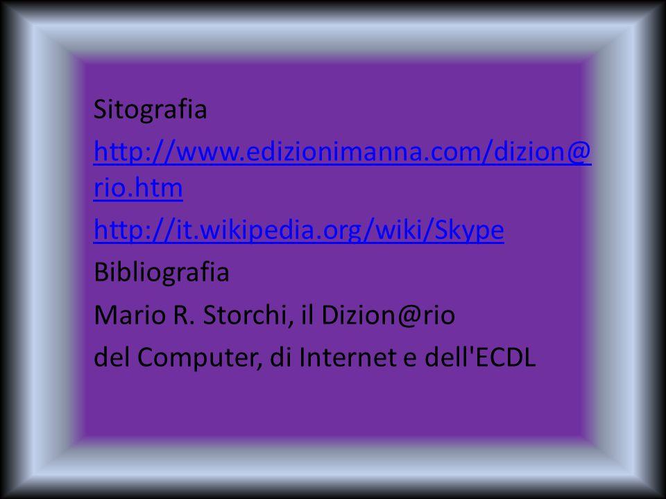Sitografia http://www.edizionimanna.com/dizion@ rio.htm http://it.wikipedia.org/wiki/Skype Bibliografia Mario R. Storchi, il Dizion@rio del Computer,