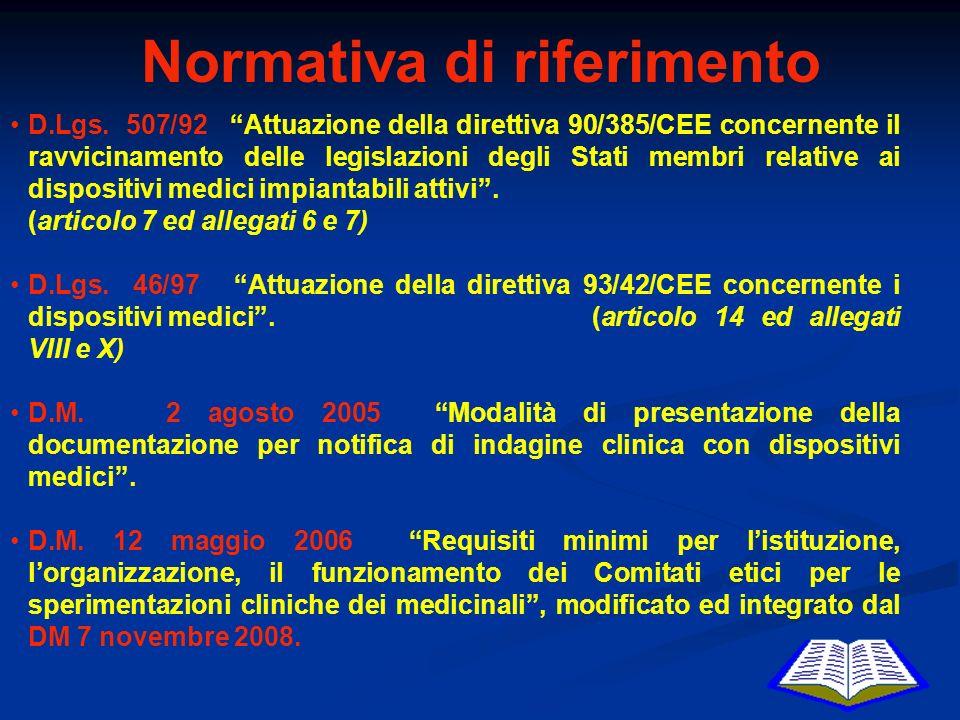 Normativa di riferimento D.Lgs. 507/92 Attuazione della direttiva 90/385/CEE concernente il ravvicinamento delle legislazioni degli Stati membri relat