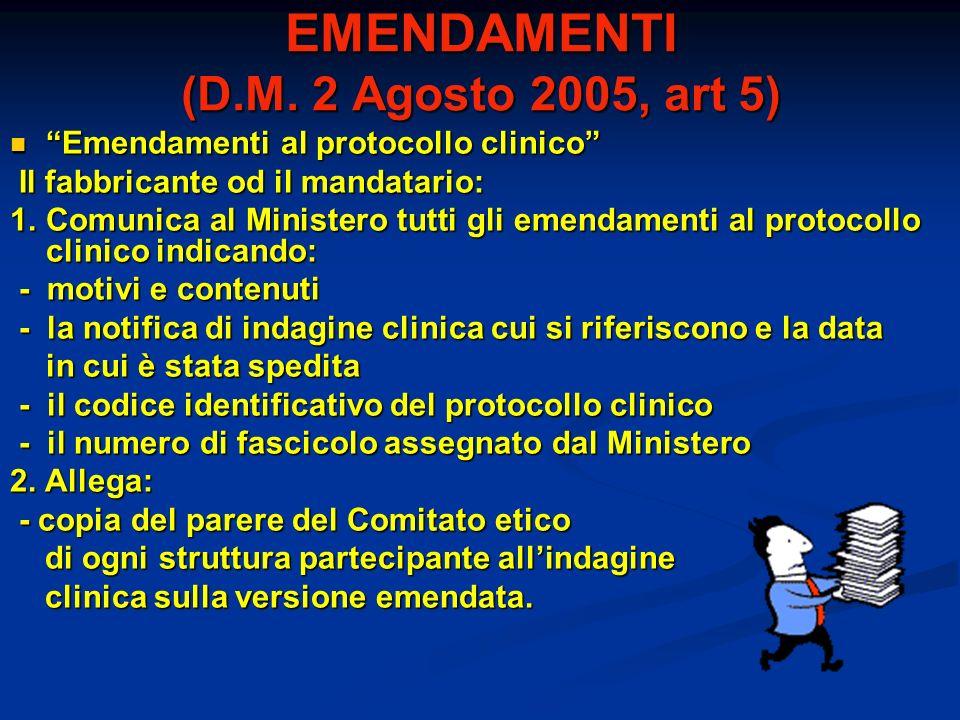 EMENDAMENTI (D.M. 2 Agosto 2005, art 5) Emendamenti al protocollo clinico Emendamenti al protocollo clinico Il fabbricante od il mandatario: Il fabbri