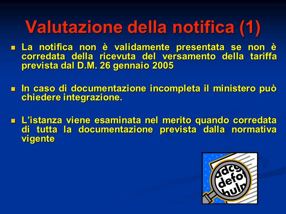 Valutazione della notifica (1) La notifica non è validamente presentata se non è corredata della ricevuta del versamento della tariffa prevista dal D.